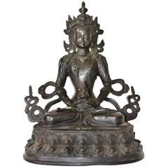 Bronze Tibetan White Tara, Blackened Bronze