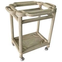 Whimsical Grey-Washed Reed Bar Cart