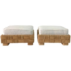 John Hutton Wicker Ottomans, Pair
