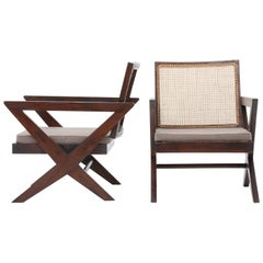 "Pierre Jeanneret, Pair of ""Cross Easy"" Armchairs"