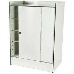 Italian White Laminated Plastic Storage Unit with Shelves & Sliding Doors for La