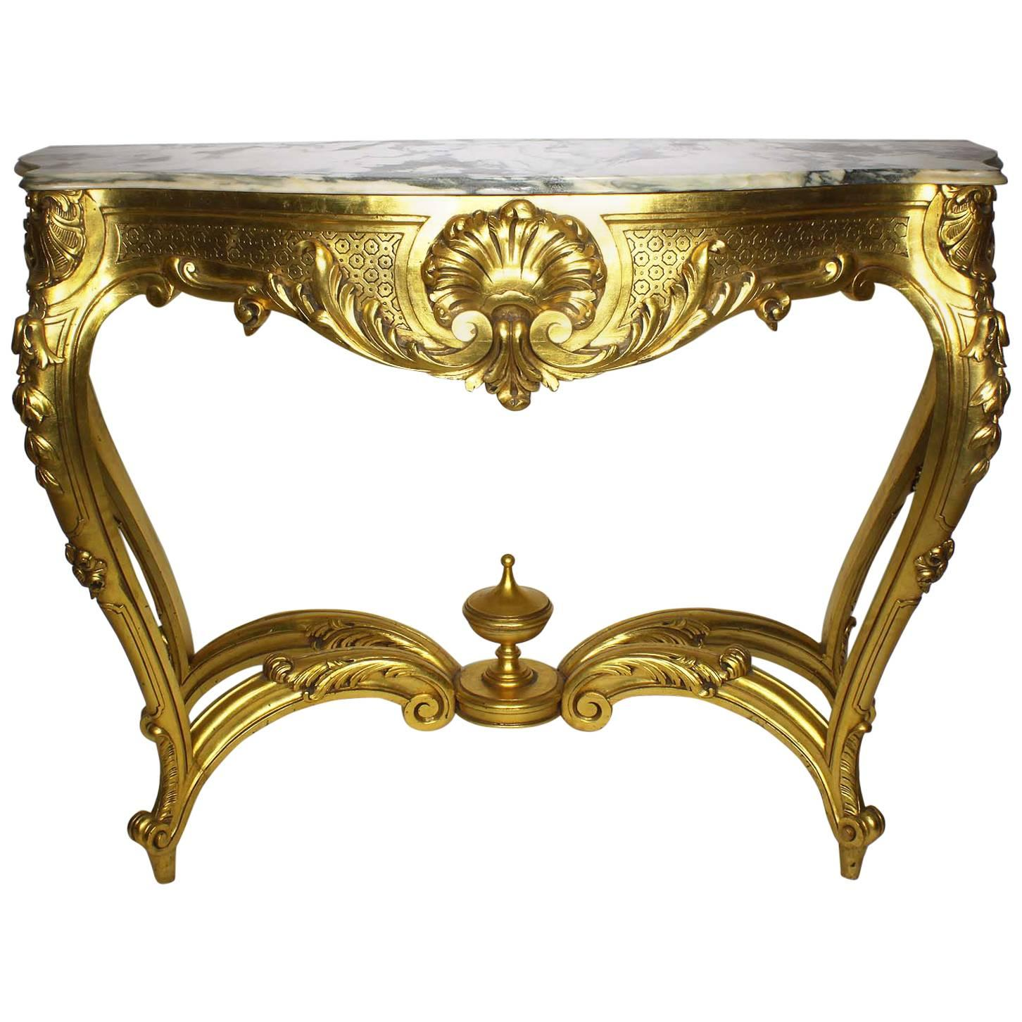 French Louis XV Style Giltwood Carved Console Table with Marble Top
