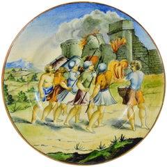 Decorative Italian Faience Plate, Castle Siege, Urbino, 19th Century