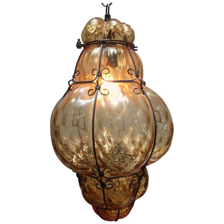Vintage Handblown Seguso Murano Amber Glass Cage Pendant Light