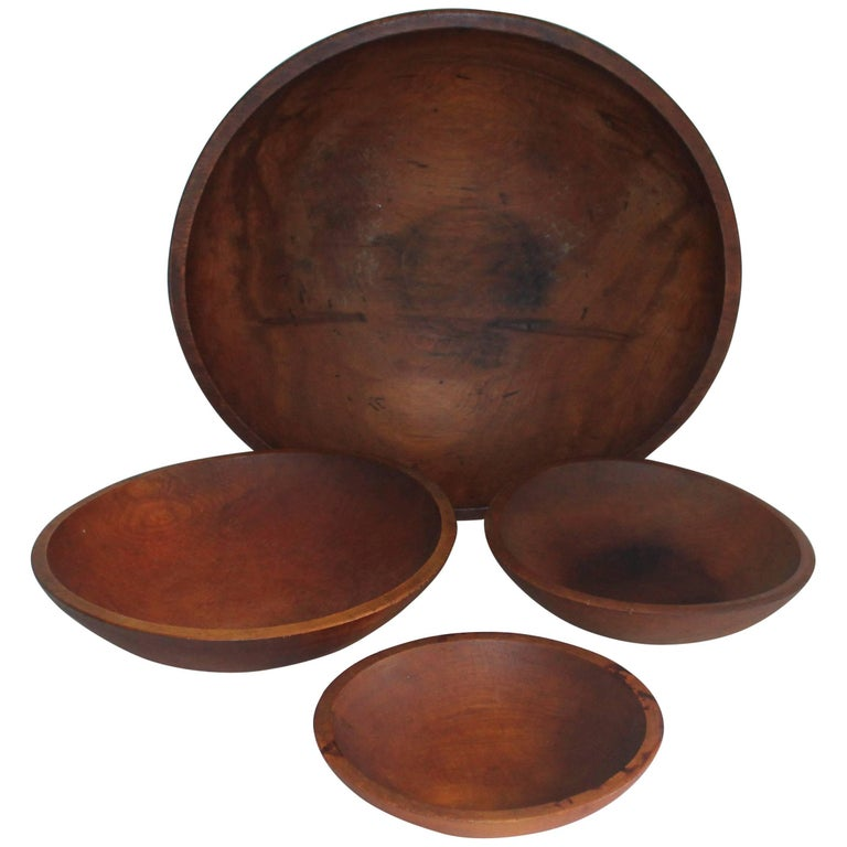 Four Wooden 19th Century Butter Bowls