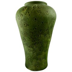 Kähler, Denmark, Large Glazed Stoneware Vase, Beautiful Green Glaze, 1930s-1940s