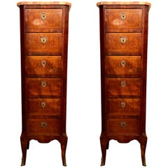 Pair of Antique French Narrow Chests with Marble Tops, circa 1880