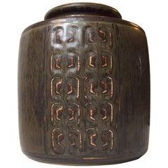 Danish Modern Stoneware Vase by Valdemar Petersen for Bing & Grondahl, 1960s