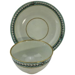 Worcester Tea Bowl and Saucer, Turquoise Border with Pearls, circa 1770