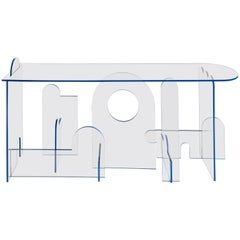 Lexan Series Console Table by Phaedo, Clear Lexan with Blue Oil, Painted Edge
