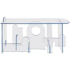 Lexan Series Console Table by Phaedo, Clear Lexan with Blue Oil, Painted Edge