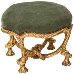 19th Century Parcel-Gilt Rope Stool, in the Manner of A. M. Fournier