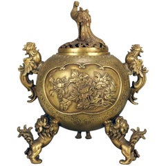 Japanese Figural Meiji Revival Bronze Censor, Foo Dogs, Chickens, Peacock Signed
