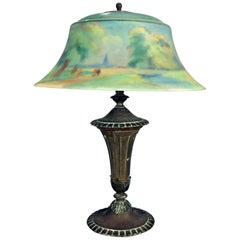 Pairpoint Reverse Painted Three-Light Table Lamp, Artist Signed Auba