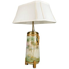 Aesthetic Movement Hand-Painted & Gilt Nippon Porcelain Urn Form Table Lamp