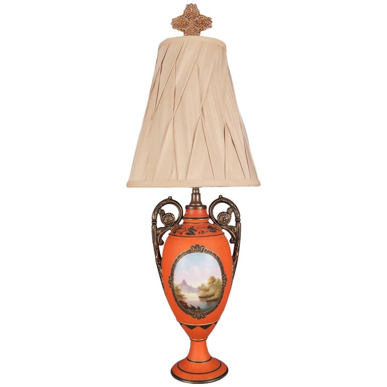 Vintage French Sevres School Hand-Painted and Gilt Porcelain Table Lamp