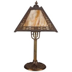 Antique Arts & Crafts Miller Slag Four-Panel Glass Petite Table Lamp, circa 1920
