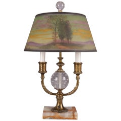 Pairpoint Reverse Painted Directorie Table Lamp, Artist Signed L.H. Gorham