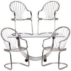 Mid-Century Modern Italian Bertoia School Chrome Dining Table and Chair Set