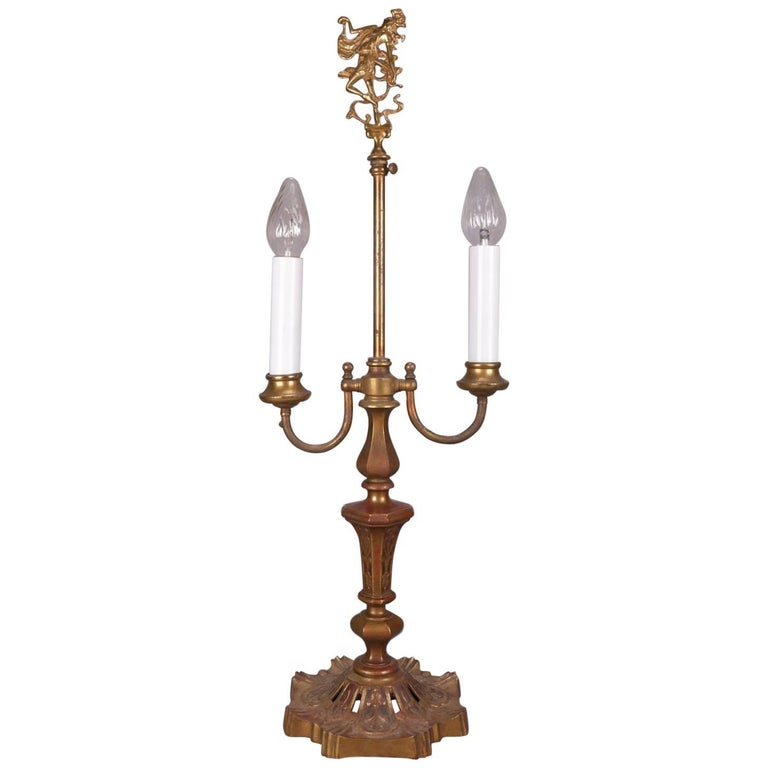 Oversized Antique Art Deco Oscar Bach School Figural Bronzed Dual Light Lamp