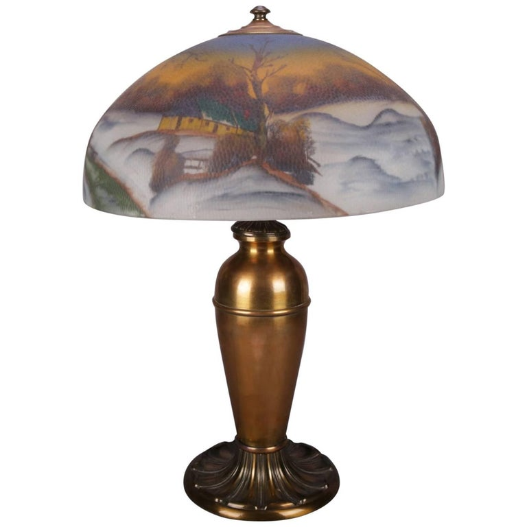 Antique Handel School Pittsburgh Style Reverse Painted Table Lamp, Winter