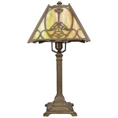 Antique Arts & Crafts Bradley & Hubbard School Slag Glass Table Lamp, circa 1920