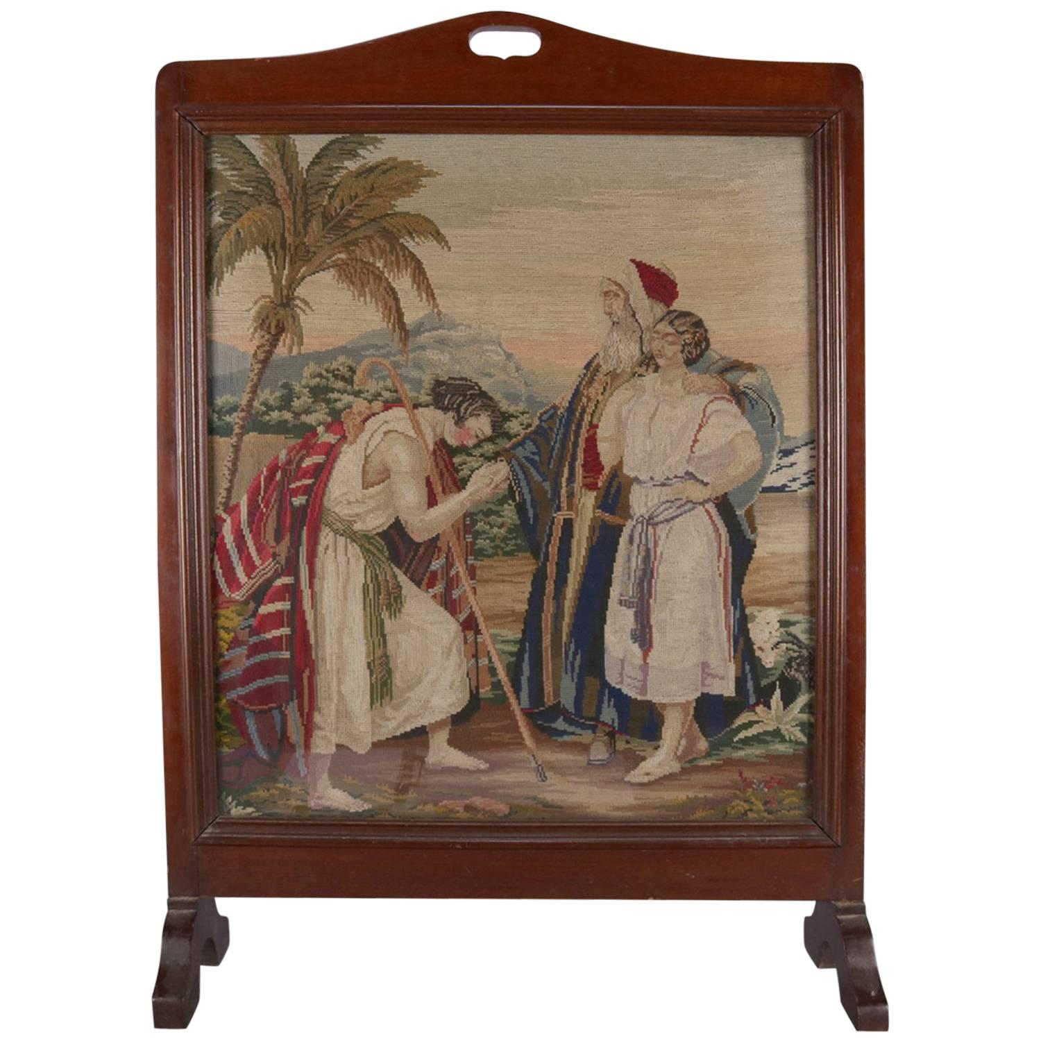 Superior Mahogany Pictorial Needlepoint Fire Screen, Moorish Royalty Scene, Circa  1890 For Sale