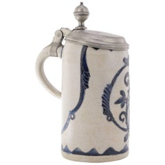 German Saltglaze Stein with Pewter Cover, Incised Flowers, circa 1750