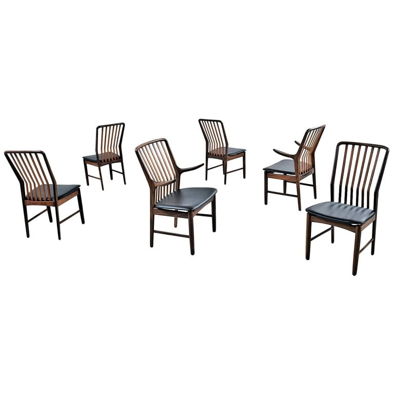 Svend Aage Madsen for Moreddi Danish Walnut Dining Chairs Set of Six