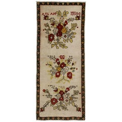 Vintage Turkish Oushak Accent Rug with Flower Bouquets, Small Hallway Runner
