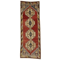 Vintage Turkish Oushak Runner with Mid-Century Modern Style
