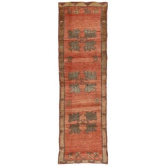 Antique Turkish Oushak Rug Runner in Traditional Style