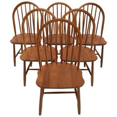 Erik Ole Jørgensen for Tarm Stole Set of Six Teak Dining Chairs