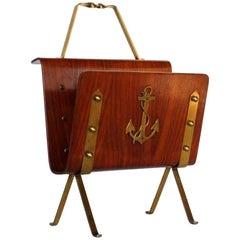 1950s Nautical Anchor Midcentury Italian Design Bentwood Magazine Rack