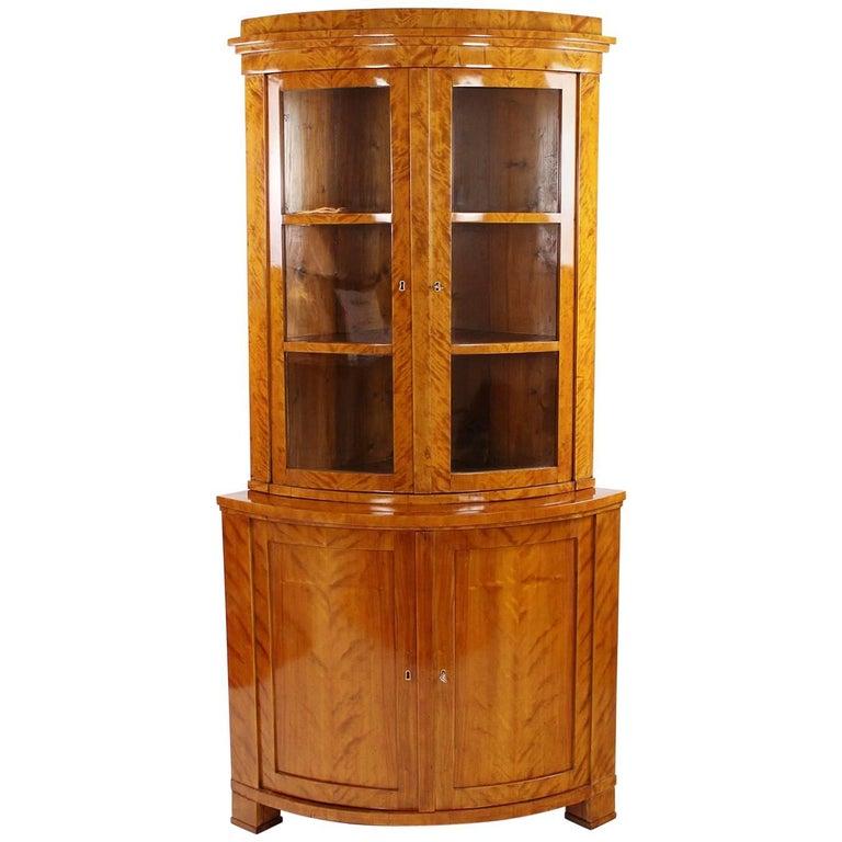 Biedermeier Period Corner Cupboard, Glass Cabinet, Vitrine, circa 1830-1840