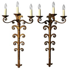 French Large Wrought Iron Antique Wall Lights