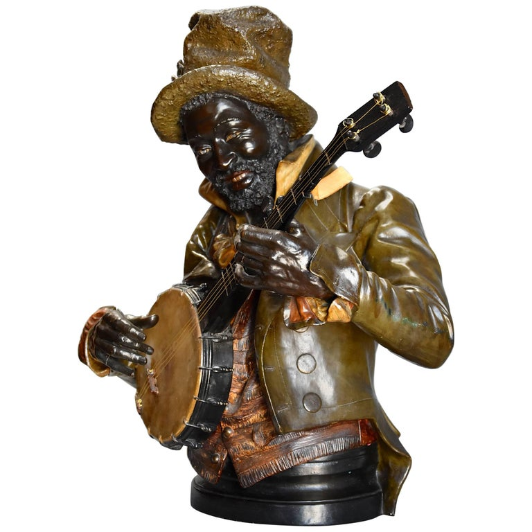 Late 19th Century Fine Quality Lifesize Terracotta Bust of the 'Banjo Player'