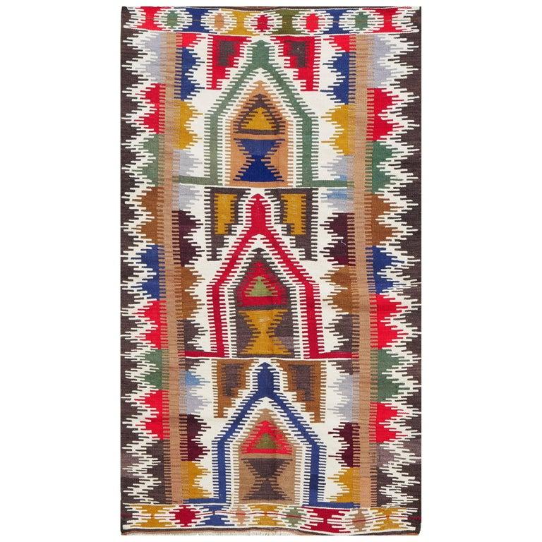 Dazzling Anatolian Kilim, circa 1950