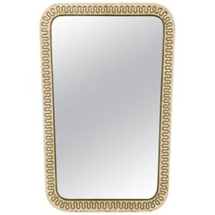 Italian Design Mirror in Perforated Metal and Brass
