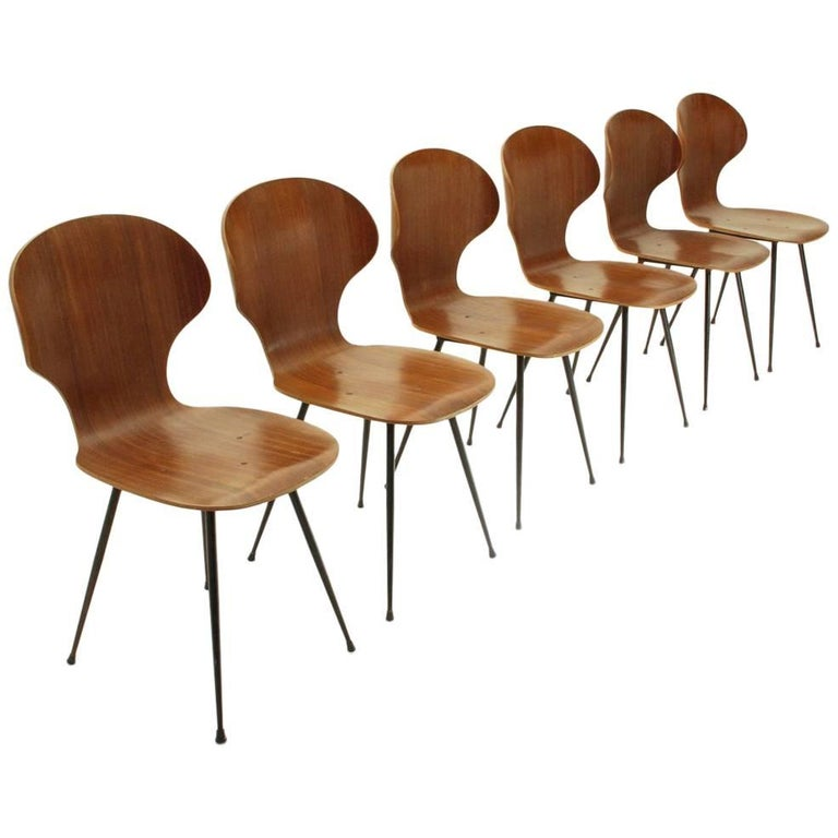 Six Dining Chairs by Carlo Ratti for Industria Legni Curvati, 1950s