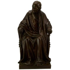 19th Century Bronze Voltaire by Houdon and Barbedienne