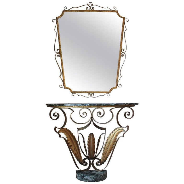 Stylish 1940s French Console Table and Mirror
