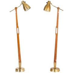 Pair of Teak and Brass Floor Lamps by Hans Bergström