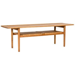 Smoked Oak and Rattan Coffee Table by Hans J. Wegner