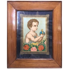 20th Century Child Jesus with Royal Globe with Elizabethan Frame