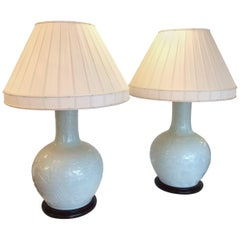 Monumentally Large Impressive Pair of Celadon Chinese Table Lamps
