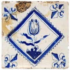 Mid-17th Century Delfts Blue Tile Hand-Painted