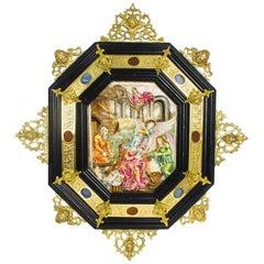 Antique Italian Framed Capodimonte Porcelain Plaque, Early 19th Century