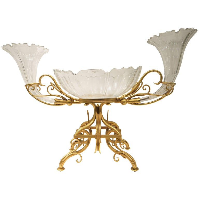 Very Large Bronze and Crystal Centerpiece Attributed to Baccarat
