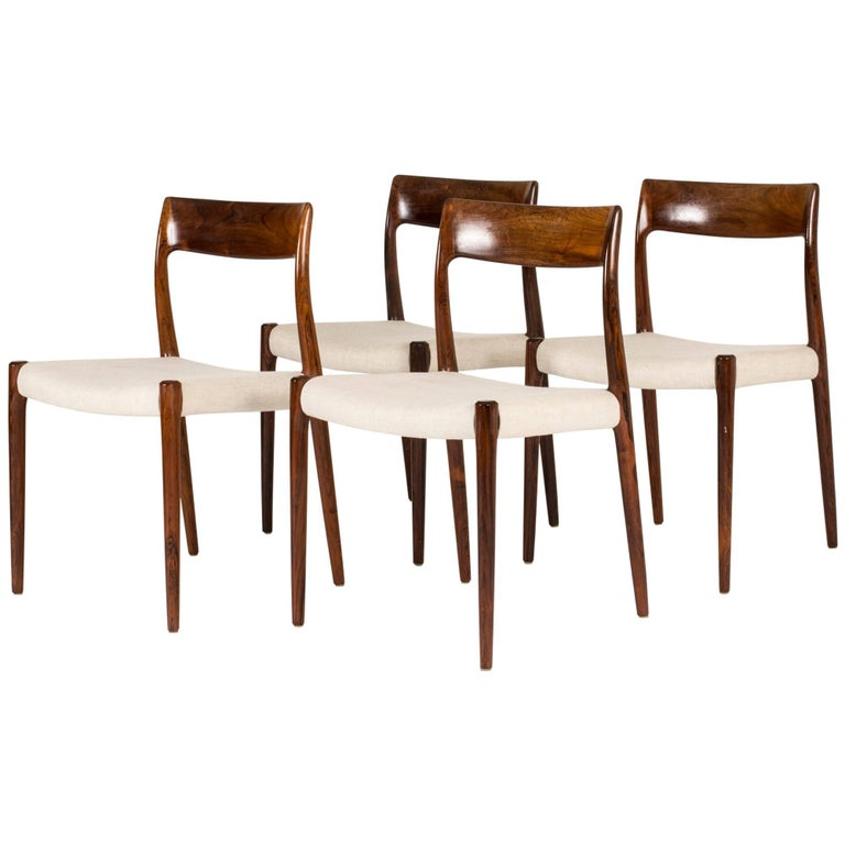 Set of Four Rosewood Dining Chairs by Niels O. Møller